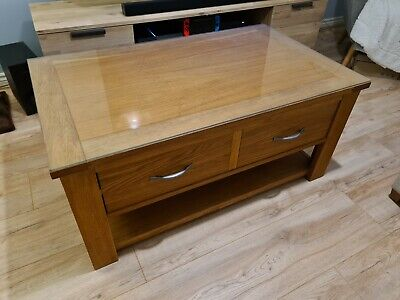 Next Cambridge Oak Coffee Table TV Stand With Glass Protector • 50£