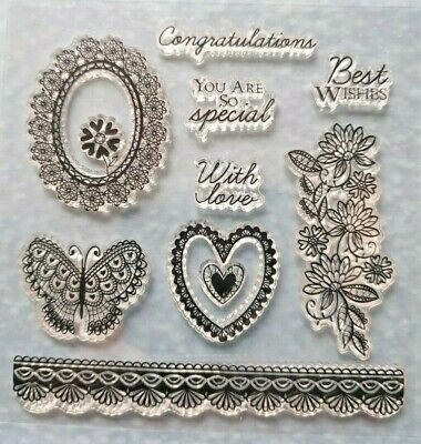 Heart, Flowers And Sayings Clear Rubber Stamp Set • 1£