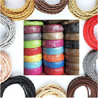 Vintage Style Braided Fabric 2/3Core Twisted Coloured Twist Cable Lamp Flex UK  • 2.93£