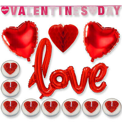 VALENTINES DAY ROMANTIC Decorations Love Heart Balloons Banner Honeycomb Gift UK • 3.39£