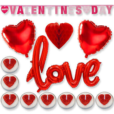VALENTINES DAY ROMANTIC Decorations Love Heart Balloons Banner Honeycomb Gift UK • 2.99£