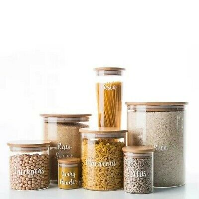 Kitchen Food Storage Containers Glass Jar With Bamboo Wood Lid • 19.99£