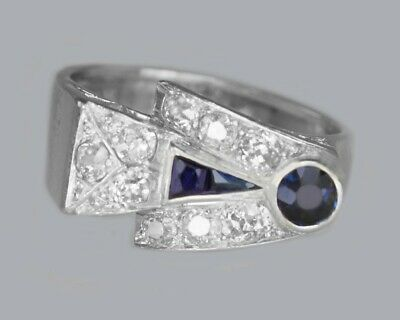 Stunning Diamond And Sapphire 1930's Art Deco Platinum Vintage Ring • 2,250£