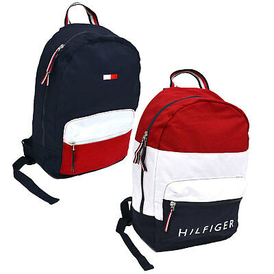 $61.99 • Buy Tommy Hilfiger Backpack Canvas 2 Pocket Travel Book Bag School Unisex New Nwt Th