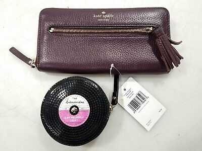 $ CDN38.29 • Buy Kate Spade NY Womens Sienna & Black Leather Clutch Wallet & LP Record Purse