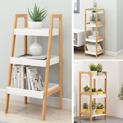 Ladder Shelf Bookcase Bamboo Shelving Unit Plant Stand Wooden Display Bathroom • 29.95£