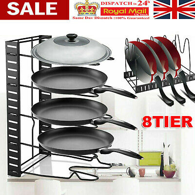 8 Tier Kitchen Pan Stand Saucepan Pot Rack Holder Chrome New By Home Discount • 9.69£
