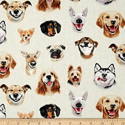 Fat Quarter Pet Selfies Dogs On Cream Husky, Pug, Labrador 100% Cotton Fabric • 5.25£