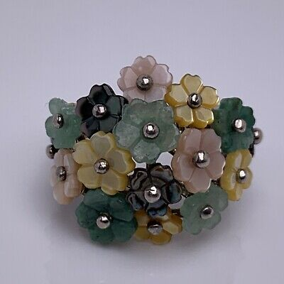 $ CDN96.78 • Buy Whitney Kelly Signed WK Sterling Silver Multi Stone Floral Cluster Ring Size 6
