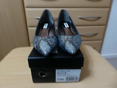 Pewter Reptile Snake Effect Grey Kitten Heel Leather Shoes By Dune Size 40, UK 7 • 12.99£
