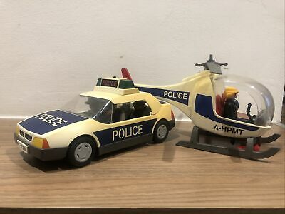 Vintage Playmobil Police Car And Helicopter 1997 • 6£