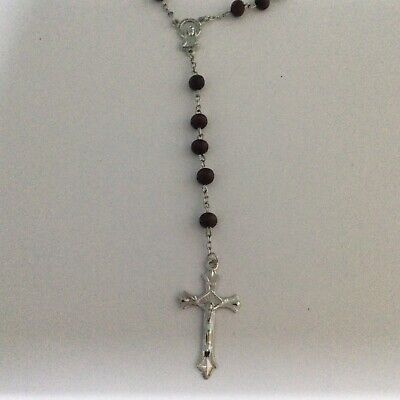 Brown Wood Beads 6mm Rosary Necklace • 2.99£