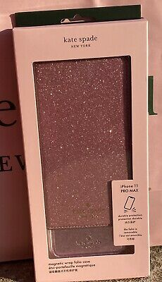 $ CDN74 • Buy NWT Kate Spade IPhone 11 Pro Max Magnetic Glitter Wrap Folio Leather Case Wallet