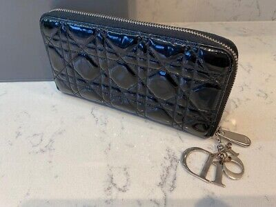 CHRISTIAN DIOR Lady Dior Cannage Continental Zip Patent Wallet Purse Black • 200£