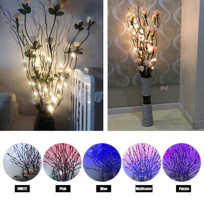 20 LED Branch Twig Lights Light Up Willow Tree Branches Home Decor Battery Power • 6.89£