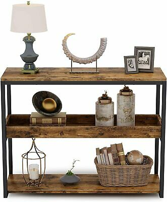 3 Tiers Console Table Industrial Hallway Table W/ Shelf Side Table -Rustic Brown • 46.99£