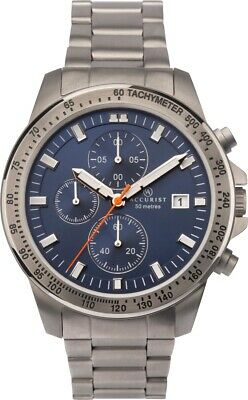 Mens Accurist Titanium Chronograph Watch With Blue Dial And Silver Strap 7244 • 69.99£