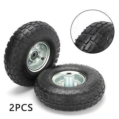 2X 10  Wheel 4.10/3.50-4 With Pneumatic Tyre For Trolley Sack Barrow Trailer • 12.99£