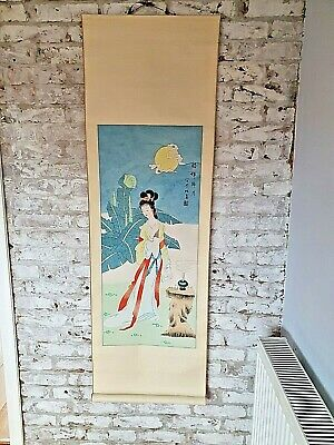 Large Hand Painted Silk Finished Chinese  Oriental Geisha Scroll Wall Hanging • 20£