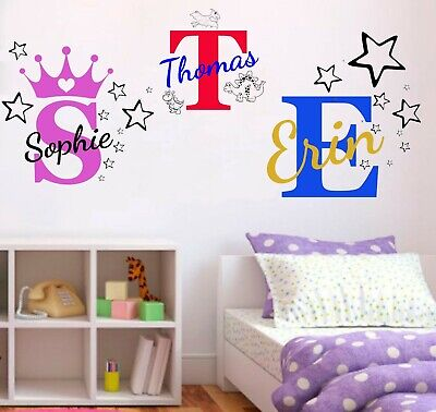 Personalised Name Wall Art Sticker - Letter Baby Girls Bedroom Nursery Decal Cot • 8.99£