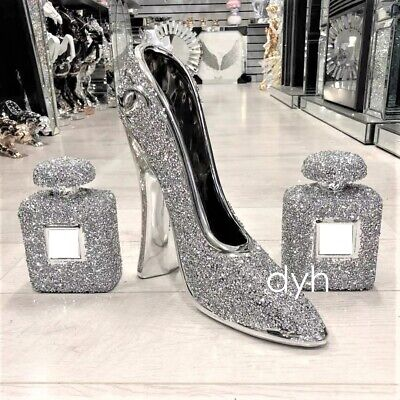 Set Of 3 Silver Crushed Diamond Sparkly Shoe Perfume Ornament Shelf Sitter Bling • 99.99£