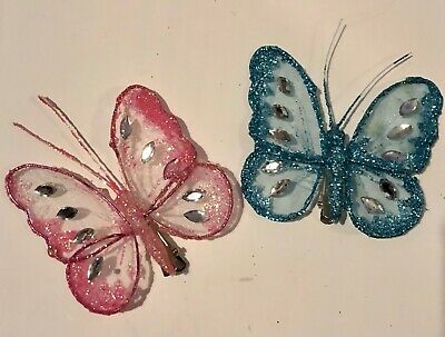 £2.99 • Buy 2 X Butterfly Mesh Sparkly Hair Clips / Blue & Pink Hair Clips  6 X 6 Cm Approx