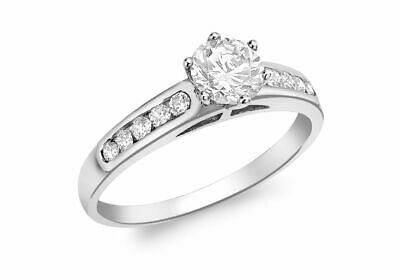 AU375.90 • Buy 9ct White Gold Solitaire With Band Ring