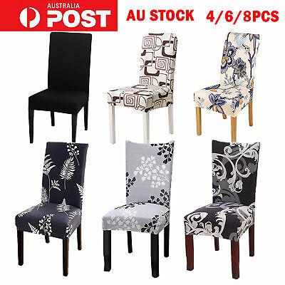 AU27.99 • Buy 4/6/8pcs Dining Chair Seat Covers Slip Stretch Wedding Banquet Party Removable