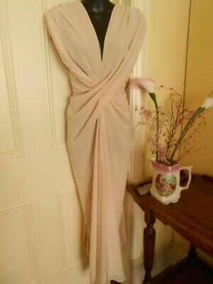 AU19.95 • Buy Soft Peach Georgette Grecian  Long Evening  Gown By Designer Carla Zampatti