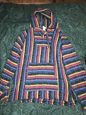 Hoodie Mexican Siesta Rug Jumper Festival Surf Hippie Blue And Pink Colours • 9.40£