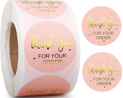 Thank You For Your Order Stickers Professional Business Labels Pink & Gold 25mm • 3.99£