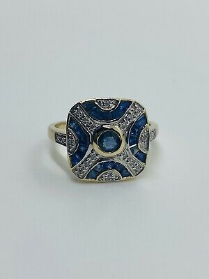 Gorgeous Sapphire And Diamond Art Deco Style Ladies Ring 9ct Yellow Gold • 77£