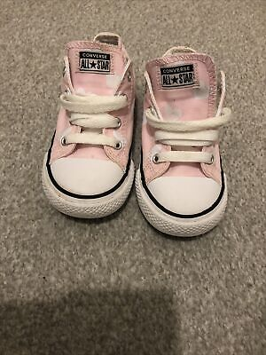 Toddler Girl Baby Pink With Love Heart Converse Size 9  • 1.80£