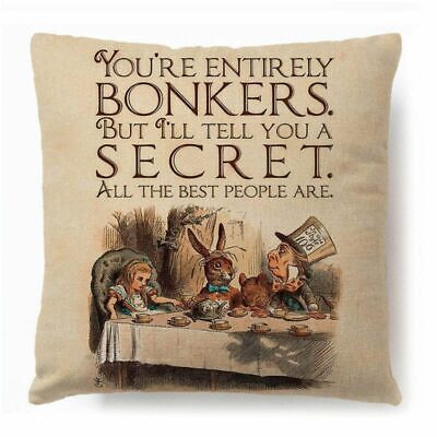 3D Alice In Wonderland Cotton Linen Cushion Cover Pillow Case Throw Home Cars • 0.99£