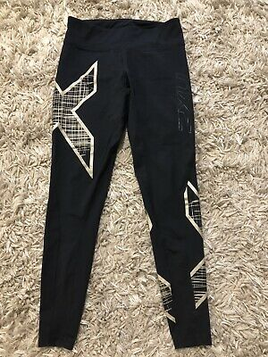 AU25 • Buy Womens 2xu Compression Black And Gold  Mid Rise Tights Sz S