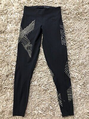 AU25 • Buy Womens 2xu Compression Black,yellow And Silver Mid Rise Tights Sz S