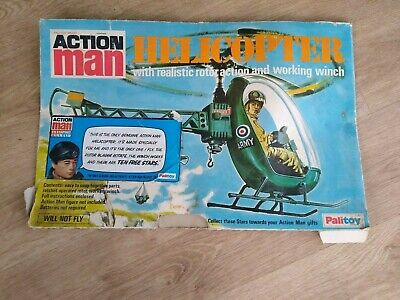 Vintage Action Man Palitoy Helicopter And Box 1970's • 19.99£