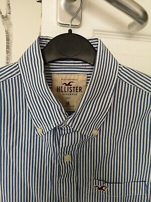 Boys Hollister Blue And White Striped Shirt • 1.20£