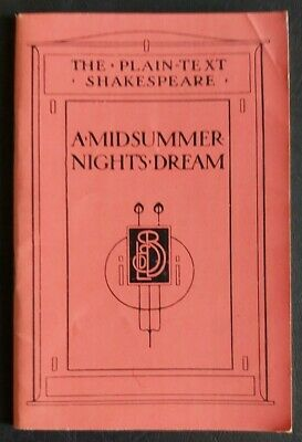 Vintage Book - The Plain-text Shakespeare A Midsummer Nights Dream • 3.99£