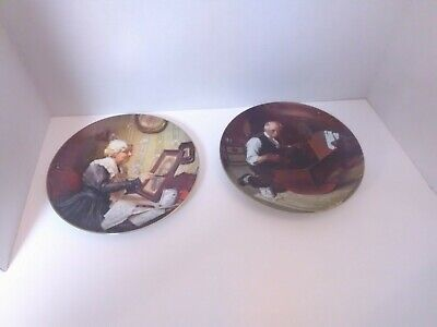 $ CDN15.30 • Buy Norman Rockwell Grandpa's Gift & Grandma's Love Plate SET By Knowles China