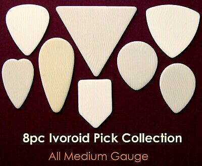 $ CDN15.30 • Buy 8 Ivory Shapes Of Celluloid Guitar Picks - Medium Gauge Collection