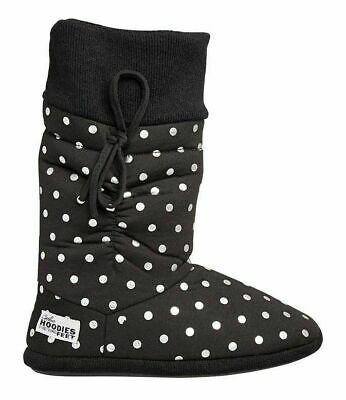 £21.68 • Buy Womens Grosby Hoodies Boots Black/Silver Spots Slippers - Size S M L Xl