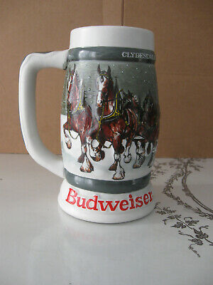 $ CDN48.28 • Buy 1982 BUDWEISER Clydesdale's Holiday Beer Stein ~ 50th Anniversary 1933-1983