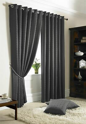Jacquard Check Lined Charcoal Ring Top Curtains *6 Sizes • 48.95£
