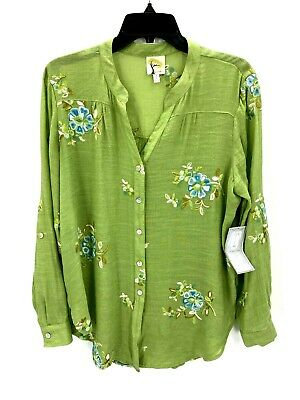 $ CDN53.49 • Buy Anthropologie Fig And Flower Womens Large Green Embroidered Boho Button Up Top