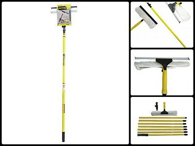3.5M Telescopic Window Glass Cleaning Cleaner Squeegee Wiper Extendable Pole Kit • 15.99£