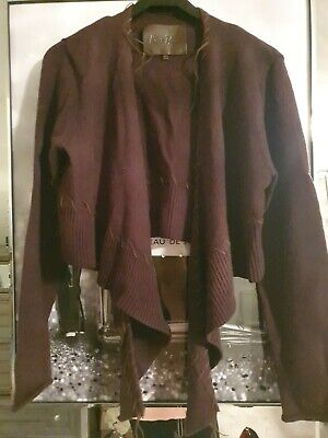 River Island Short Waterfall Cardigan Brown With Leather Trim Size 16 • 3.50£