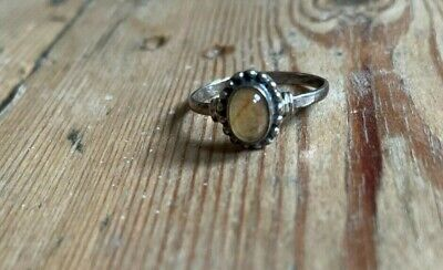 Yellow Topaz Ring, Sterling Silver Stacking • 8£