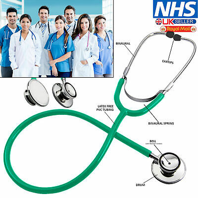 Medical EMT Dual Head Stethoscope For Pro Nurse Doctor Vet Student Health Black • 3.49£