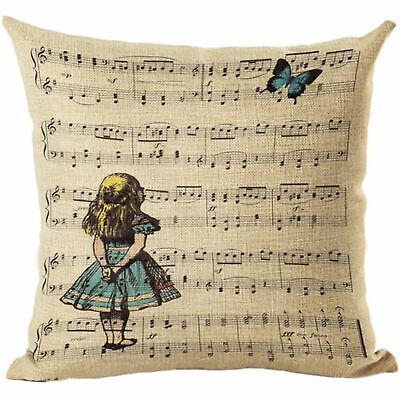 Alice In Wonderland Music 17  Square Cushion Cover Pillow Case Home Decor Gift • 9.99£